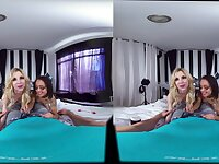 Nude blonde in cock sharing VR with hot Latina