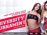 Amirah Adara  Misha Cross  Potro de Bilbao in University tournament - VirtualRealPorn
